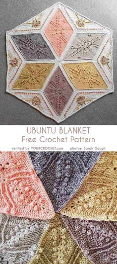 Beautiful hexagonal blanket crochet pattern I bet not many of you have made a hexagonal blanket before. The Ubuntu Blanket pattern is available in 3 sizes - small, medium and Crochet Afghans, Crochet Hexagon Blanket, Crochet Quilt, Afghan Crochet Patterns, Crochet Squares, Crochet Motif, Crochet Stitches, Knitting Patterns, Hexagon Crochet Pattern