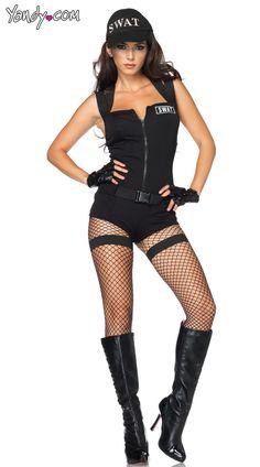 Swat Hottie Costume, Sexy SWAT Costume, SWAT Womens Costume, Black SWAT Costume