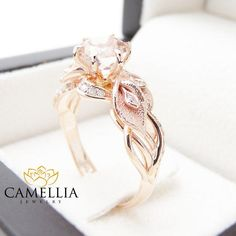 14K Rose Gold Morganite Engagement Ring Calla Lily Design Morganite Ring Unique Flower Ring Nature Inspired Engagement from camellia jewelry. Saved to I. #diamond #callalilly #engagementring #morganite #rosegold.