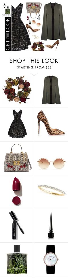 """Naranja tostado"" by gabyidc ❤ liked on Polyvore featuring Nearly Natural, Christian Louboutin, Gucci, Linda Farrow, NARS Cosmetics, Allurez, Bobbi Brown Cosmetics, Nest, Christian Dior and vintage"