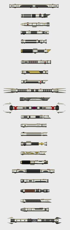 Collection of lightsaber hilts by Kyneris