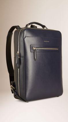 London Leather Backpack Dark Navy | Burberry