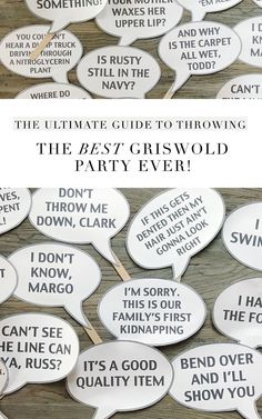 Themed parties 261138478380853247 - Everything you need for a Christmas Vacation themed party. No Griswold details were overlooked! Link to printable movie quotes from the whole Griswold family Source by laureldonahoo Adult Christmas Party, Christmas Party Themes, Xmas Party, Holiday Fun, Christmas Holidays, Holiday Parties, Winter Parties, Holiday Foods, Merry Christmas