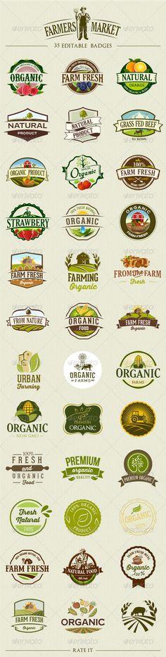 35 Organic Food Labels and Badges - Decorative Symbols Decorative