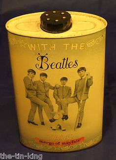 """VINTAGE MARGO OF MAYFAIR LONDON""""WITH THE BEATLES""""TALC TIN>>>I have this still with powder..haha"""