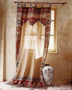 Moroccan Decor, light neutral colors with just a splash of bright colors - Home Stuff - Curtain Moroccan Bedroom, Moroccan Interiors, Moroccan Decor, Moroccan Style, Moroccan Curtains, Bohemian Curtains, Western Curtains, Moroccan Fabric, Deco Boheme Chic