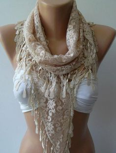 Elegance Scarf Beige   with Lacy Edge by womann on Etsy, $13.50