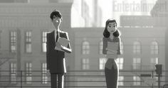 """Disney Animation has released a series of new photos giving us a first look at their new short, Paperman. The film was made using a unique animation technique called """"Meander"""" that blends CG and traditional animation. The short is being directed by John Kahrs, a former Pixar employee who also worked on the Disney film Tangled."""
