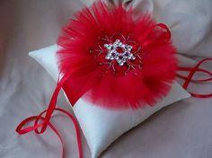 Ring Bearer Pillow Red Snowflake