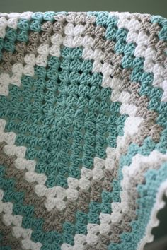 Modern Baby Blanket, Granny Square in White Teal and Gray