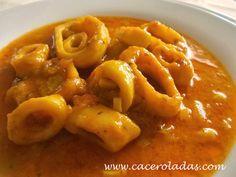 Caceroladas: Calamares en salsa americana.