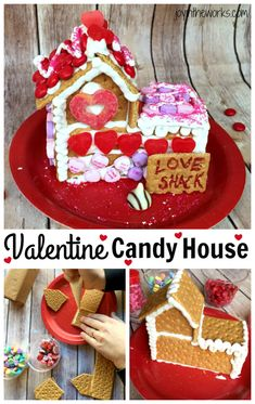Make a Valentine Candy House with all your leftover Valentine candy! Use real gingerbread or even just make a Valentine's Day Graham Cracker House! The kids will have a blast and it's a great way to use up all that candy! #grahamcrackerhouse #loveshack #valentinecandyhouse #valentinecandy #conversationhearts