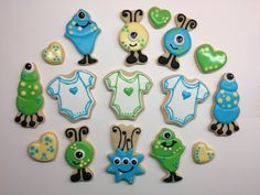 Monster baby shower sugar cookies with Royal icing