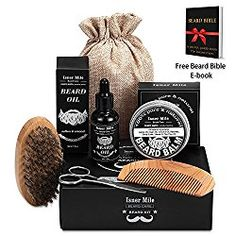 UPGRADED Beard Kit for Men Beard Growth Grooming & Trimming with Unscented Leave-in Conditioner Oil, Mustache & Beard Balm Butter Wax, Beard Brush, Beard Comb, Sharp Scissors Gift Set Beard Oil And Balm, Beard Balm, Fathers Day Images Quotes, Beard Grooming Kits, Beard Shampoo, Beard Brush, Growth Oil, Perfect Gift For Him, Beard No Mustache