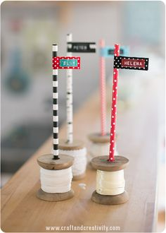 Paper Straw Flags - by Craft & Creativity - These would be adorable on pencils for kids!