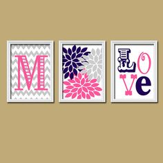 Monogram Child Name Pink Navy Grey Chevron Flower LOVE Nursery Print Artwork Set of 3 Prints Girl Wall Decor Art Picture on Etsy, $25.00