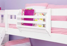 """Bedside Storage - Sleeping up high? Add a """"table in the air"""" to hold your drinks and books. Just one of many kid approved living ideas from Maxtrix. Shop our bedside storage, including trays and magazine racks and our original Maxpack!"""