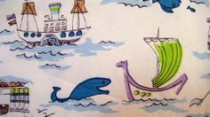 1.6 yds 1960s Boats and Fish Nautical by JennyHaniverVintage, $19.00