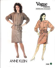 Jacket Wrap Skirt Anne Klein Design VOGUE Sewing Pattern 2986 Uncut Sz 12 #Vogue2986 #jacketskirt