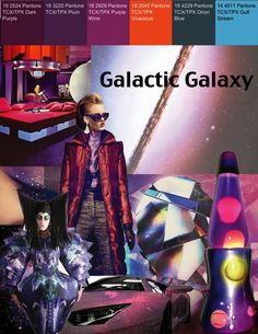 "FEATURE // TRENDS - CHANTELLE FANDINO   ""Futuristic Lifestyle Trend Board"" Galactic Galaxy Autumn/ Winter 15/16 This board was inspired by the nature of Space, and the futuristics of the future. The aesthetic is very psychedelic and bright, with focus on the mysteries of space."