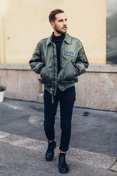 Arttu Mustonen - Old Army Jacket, Dr. Martens Boots, Cheap Monday Jeans, Selected Homme Turtleneck - Old army bomber