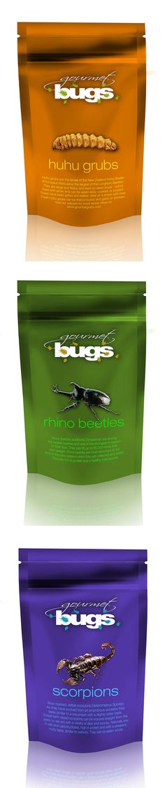 Gourmet Bugs – Future foods for those who want to try 'entomophagy' (eating insects). An alternative source of protein for a hungry world – Concept packaging from design unlimited.