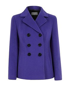 Precis Petite. With collar and revere neckline this classic double breasted Precis Petite coat comes in a wearable purple colour. With angular seaming details to draw in the waist and chic buttons to the front. Fully lined with jet pockets.