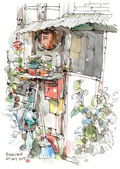 Backyard of the old dormitory The backyard - backyard of the old dormitory The - - Watercolor Sketchbook, Sketchbook Drawings, Watercolor And Ink, Drawing Sketches, Watercolor Paintings, Art Drawings, Fabrice Moireau, Architecture Drawing Sketchbooks, Guy Drawing