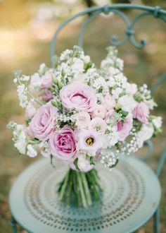 Pastel Pink Wedding Bouquet   Image by Hannah Duffy