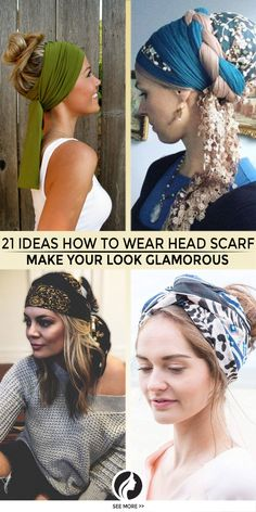 21 Ideas How to Wear Your Head Scarf to Make Your Look Glamorous A head scarf is an amazing accessory: no matter how you wear it, you will look… Hair Scarf Styles, Headband Styles, Curly Hair Styles, Bandana Hairstyles, Cute Hairstyles, Hair Day, New Hair, Head Scarf Tutorial, Ways To Wear A Scarf