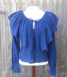 90s Ruffle Blouse Navy Blue Grunge Romantic by ThingsRedeemed, $15.00