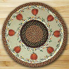 "Harvest Pumpkins 27"" Round Braided Jute Rug"