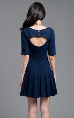 Navy Blue Pleated Dress with Cutout Back | Plenty by Tracy Reese