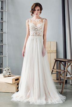 Прямое свадебное платье с прозрачным верхом и спиной в израильском стиле WEDBERRY W929