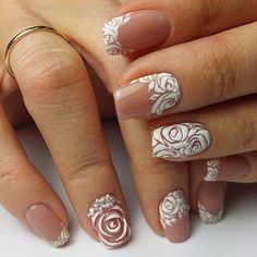 Opting for bright colours or intricate nail art isn't a must anymore. This year, nude nail designs are becoming a trend. Here are some nude nail designs. 3d Nails, 3d Nail Art, Cute Nails, Pretty Nails, Simple Wedding Nails, Wedding Nails Design, Wedding Nails Art, Best Nail Art Designs, Simple Nail Designs