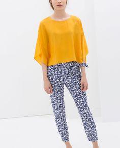 mustard silk blouse blue whiter pattern loose pant