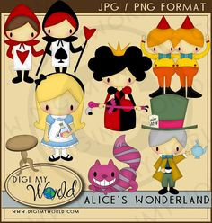 Alice in Wonderland  Alice Chesire cat Mad Hatter by DigiMyWorld, $3.99