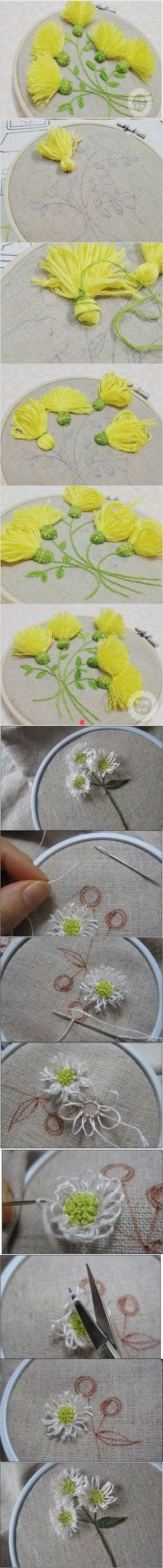 DIY l Embroidered Flowers 2 Silk Ribbon Embroidery, Embroidery Patches, Embroidery Art, Cross Stitch Embroidery, Embroidery Patterns, Yarn Crafts, Sewing Crafts, Sewing Projects, Diy Crafts