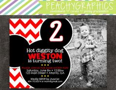 Mickey Mouse Birthday Party Invitation with by PeachyGraphics, $10.00