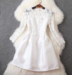 Crochet Lace Dress in White