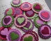 Valentine Heart Scallop Coins - Wool Felt - Set of 8