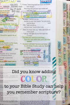 Using color when you study God's word is one way to help you understand and remember scripture.  These Bible Tabs are another colorful addition and they make finding verses a snap!