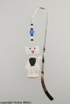 Bookmark - White and Black Cat in Polymer Clay
