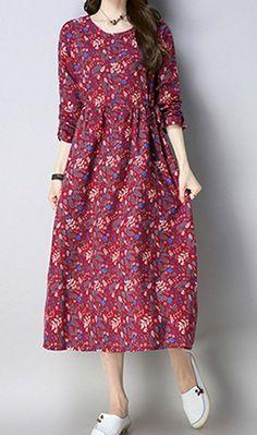 fe7a94baae Women loose fit flower pocket long sleeve dress large size casual Bohemian  Boho #unbranded #dress