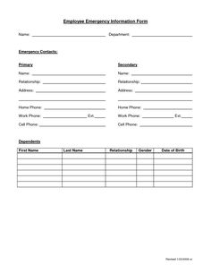 emergency contact form for employees