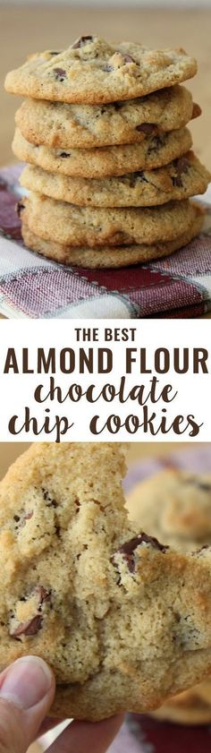 Flour Chocolate Chip Cookies (Grain-Free) An all-time favorite recipe! Crispy on the outside, soft on the inside and slightly buttery. People tell me all the time they prefer these cookies to their traditional cookie recipes.Inside Inside may refer to: Low Carb Desserts, Gluten Free Desserts, Low Carb Recipes, Delicious Desserts, Yummy Food, Paleo Recipes, Delicious Chocolate, Diabetic Desserts, Diabetic Cookie Recipes