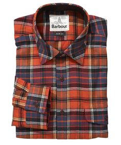Mens Barbour Farnham Check Shirt in Red is made from 100% cotton heavy brushed twill with a delicate red check.