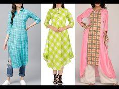 Latest Check Print Kurti Designs | New Stylish Check Print Kurti with Shop Link - YouTube Printed Kurti Designs, Blouse Designs, Stylish Tops, Trendy Tops, Cotton Anarkali Dress, Stylish Kurtis Design, Latest Kurti, Ethnic Dress, Designer Gowns