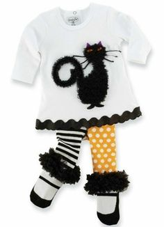 2-3T Mud Pie Toddler Halloween Cat Tunic and Tights Set