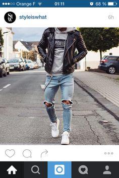 Homme, Jean, veste style motard, sweat-shirt